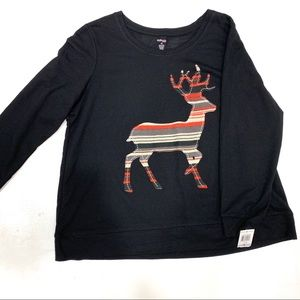Style CO Deer embroidered pullover Holiday Sweater
